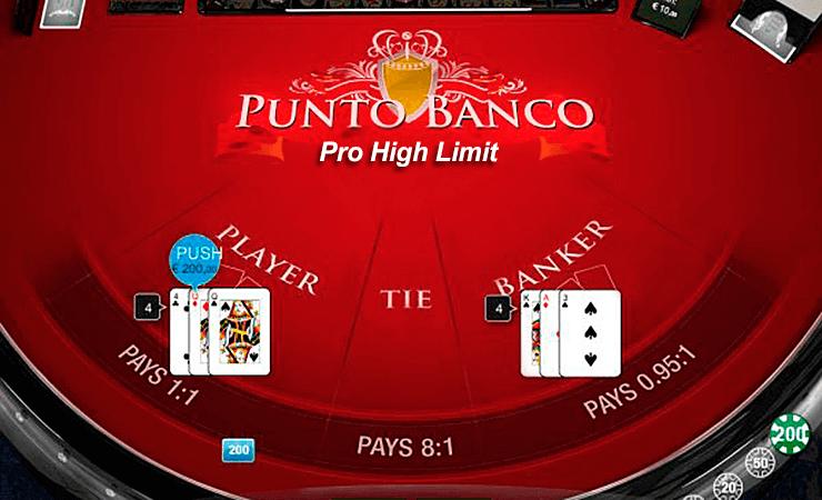 punto banco professional series high casino